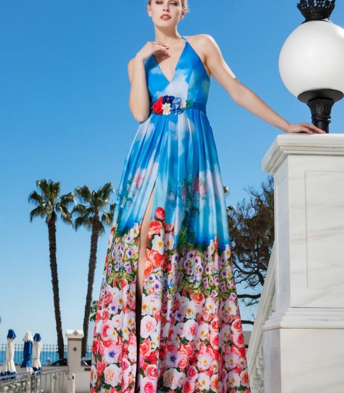 Long plain and shiny dress