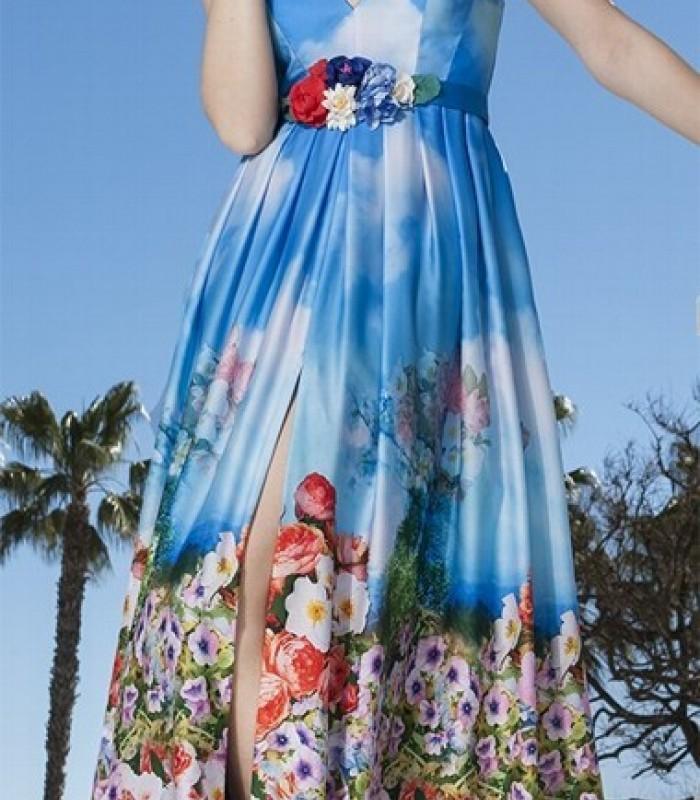 Vestido largo azul real estampado y escote profundo