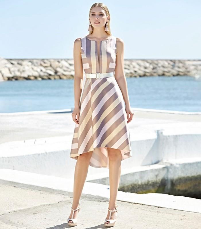 Marbella midi dress with striped print
