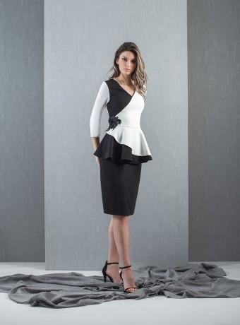 Vestido midi bicolor blanco y negro