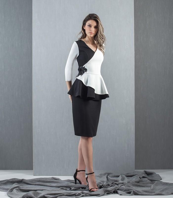 Black and white two-tone midi dress