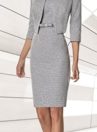 Short straight print dress and jacket set