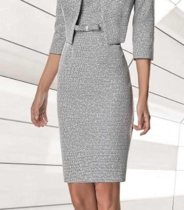Conjunto vestido estampado corto recto y chaqueta