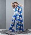Blue jumpsuit with asymmetric print