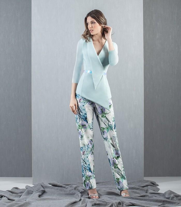 Asymmetric blazer and patterned pants set