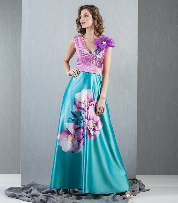 Violet Flower Long Dress
