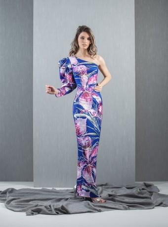 Asymmetric sleeve dress
