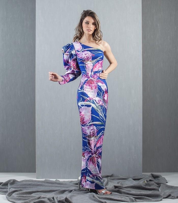 Vestido manga asimétrica