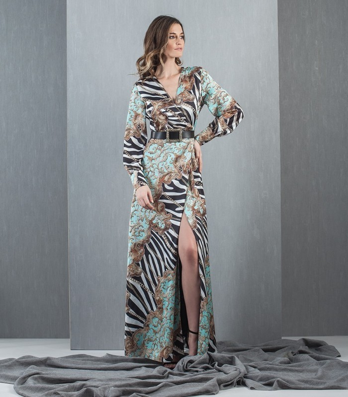 Long printed dress with belt