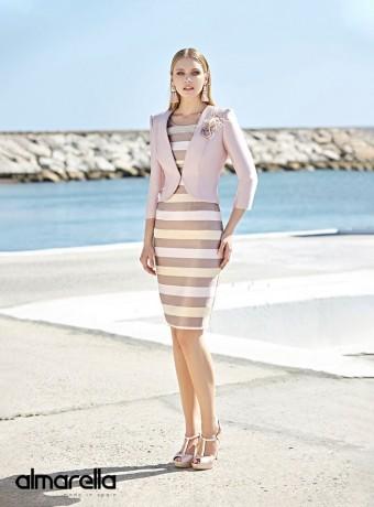 Conjunto torera y vestido midi Marbella con estampado de rayas