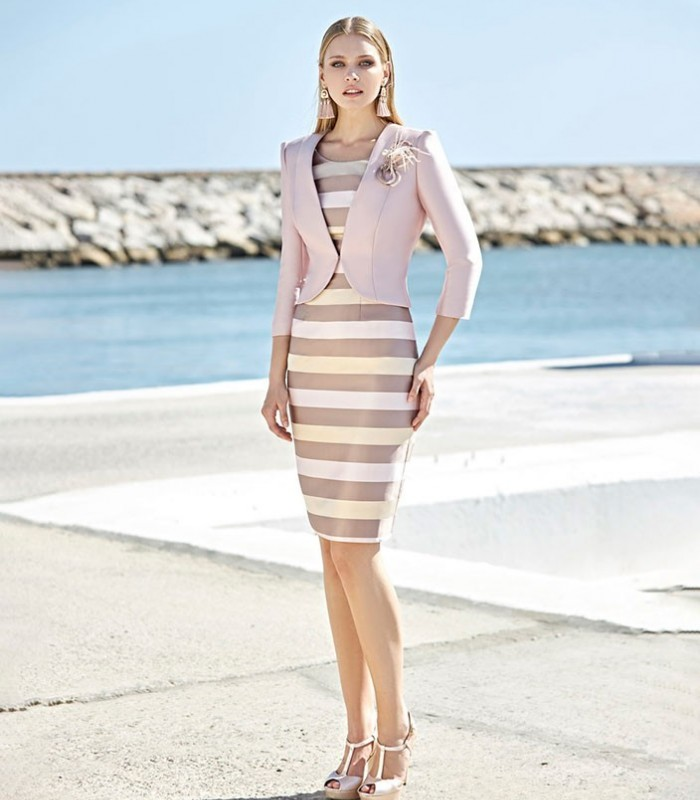 Torera and midi dress Marbella with striped print set