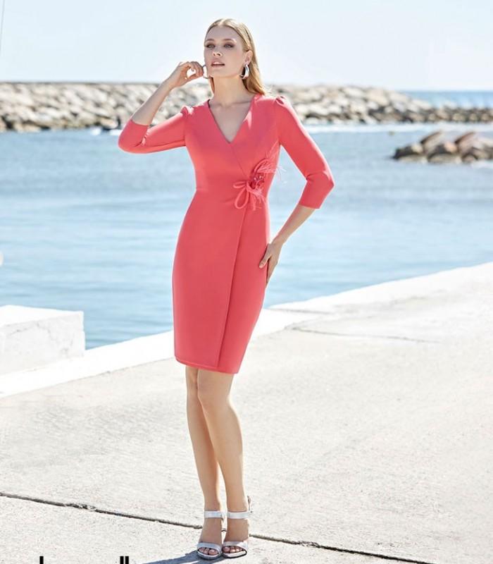 Vestido midi Marbella con escote cruzado y mangas francesas