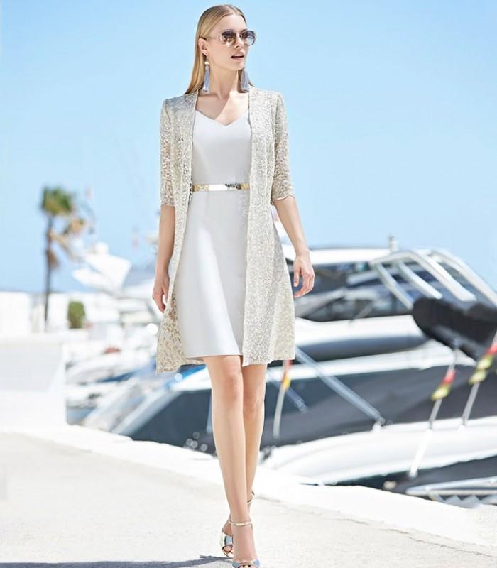 Conjunto Marbella abrigo y vestido midi manga corta