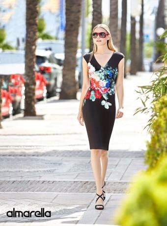 Black Marbella midi dress with floral print