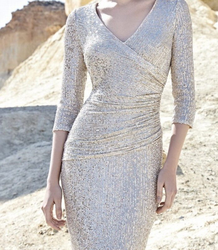 Short dress with crossover neckline and sequins
