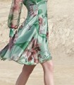 Short printed dress with puff sleeves