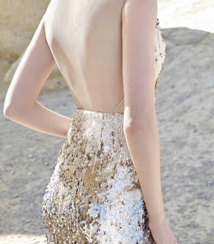 Vestido largo de lentejuelas y espalda descubierta