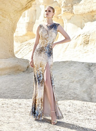 Long sequin dress with open back