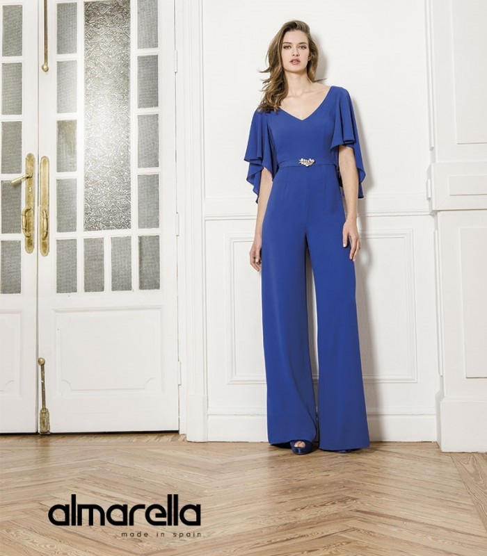 Plain Almarella jumpsuit with short ruffle sleeves