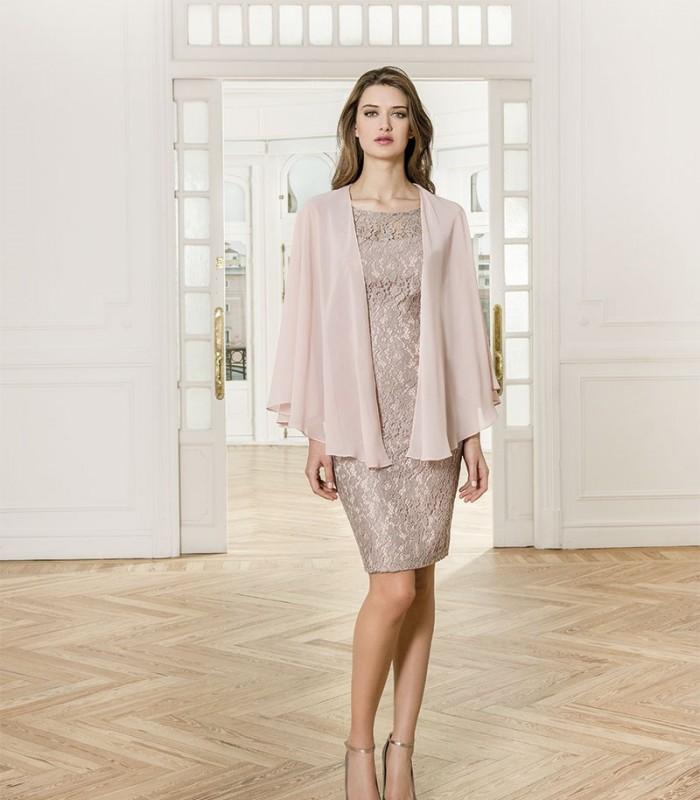 Almarella poncho and lace midi dress set