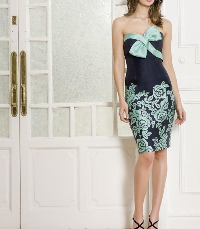 Almarella midi dress with strapless neckline and tie