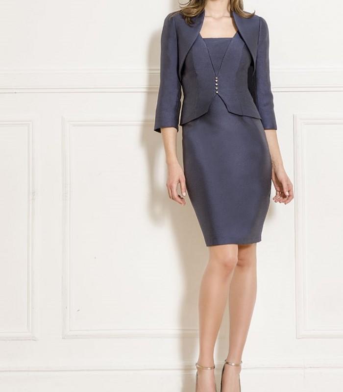 Almarella torera, top with u-neckline and short skirt set
