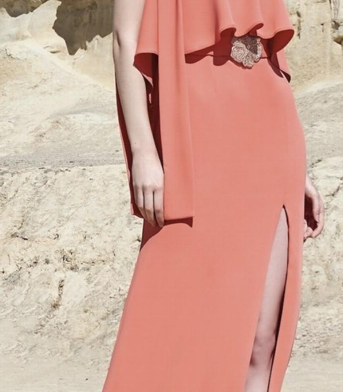 Long ruffle and asymmetric sleeve dress