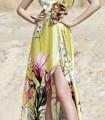 Vestido largo estampado de escote asimétrico y abertura lateral