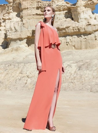 Long ruffle and asymmetric sleeve dress