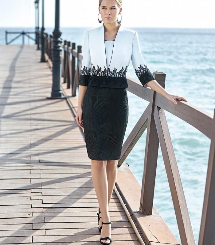 Lace jacket and brocade dress set