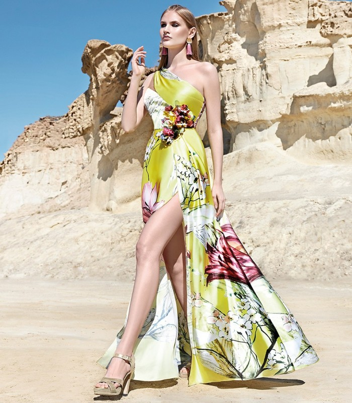 Long printed dress with asymmetric neckline and side slit
