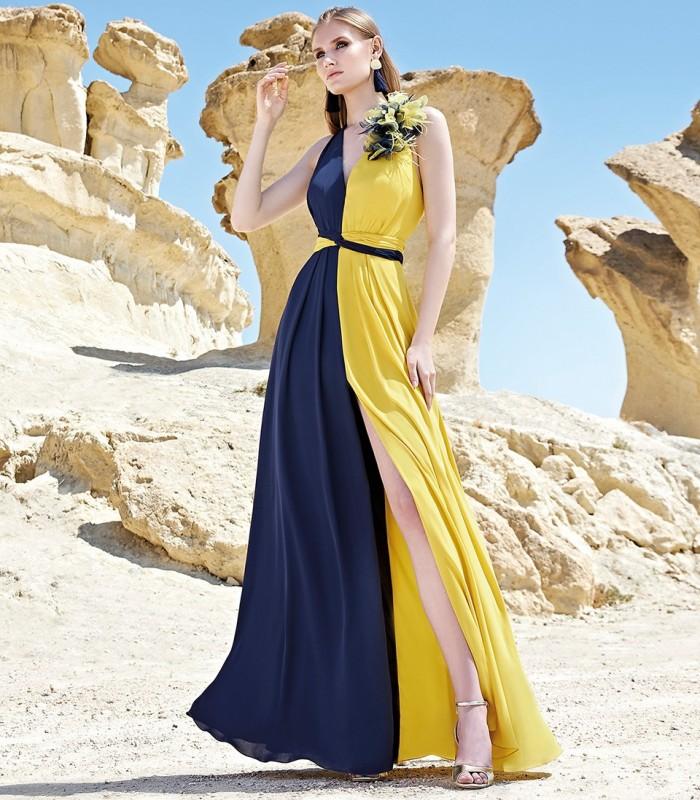 Two-tone halter neckline maxi dress