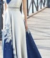 Long cross neckline dress with embroidery and rhinestones