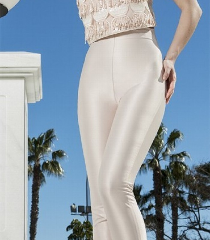 Conjunto pantalón y top de flecos con escote halter