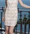 Short fringe dress with shoulder brooch
