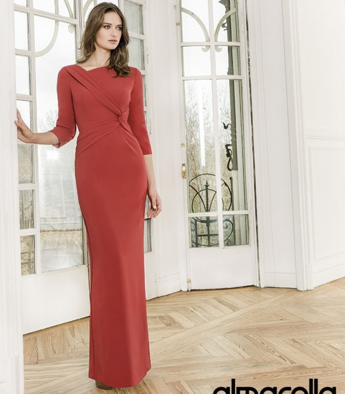 Blue long dress with asymmetric neckline and French sleeves