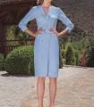 Short dress with mao neckline and belt