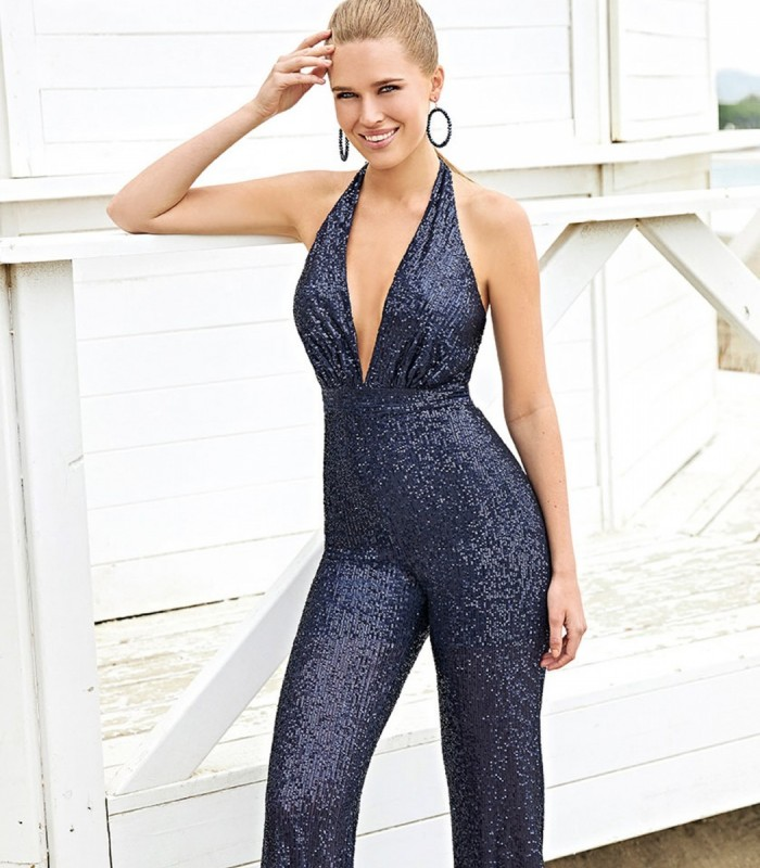 Sequin Jumpsuit with Halter Neckline and Open Back