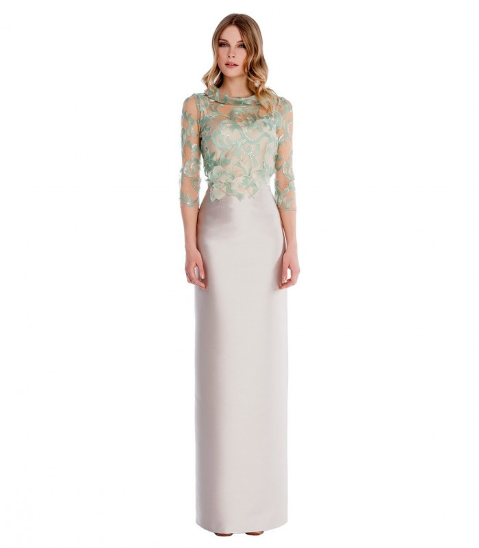 Long dress with floral embroidery on top