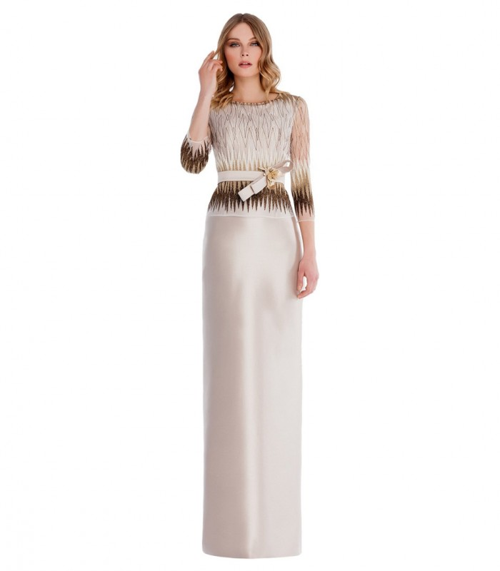 Plain long dress with printed top and fitted belt