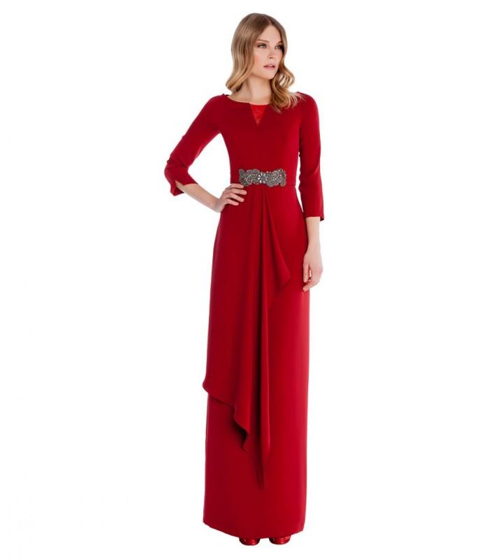Vestido largo con cuello redondo con abertura y falda lisa con vuelo