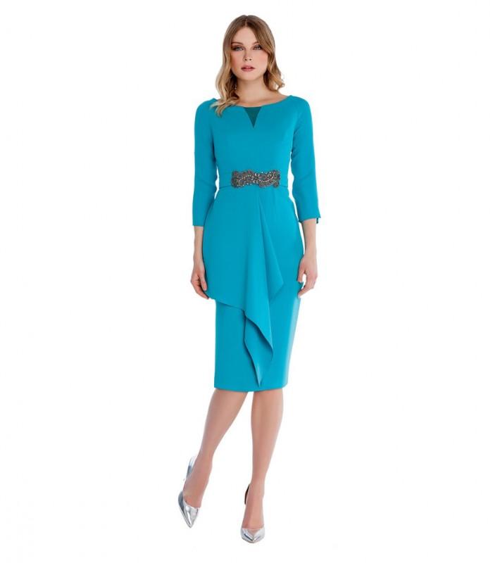 Vestido midi con escote redondo y falda lisa con vuelo
