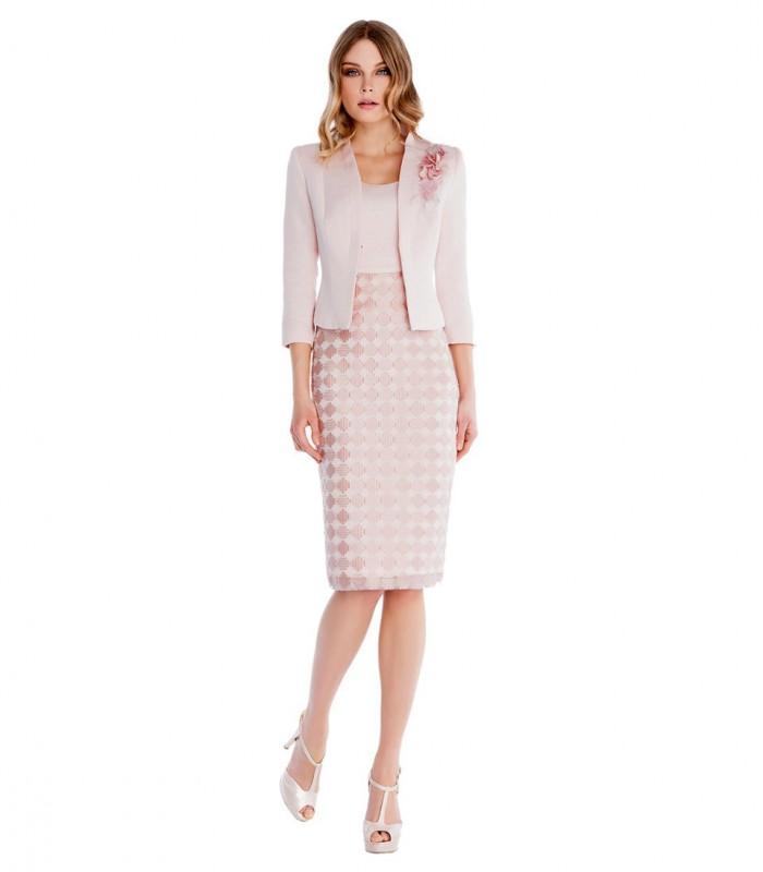 Vestido midi con escote redondo con falda estampada y chaqueta