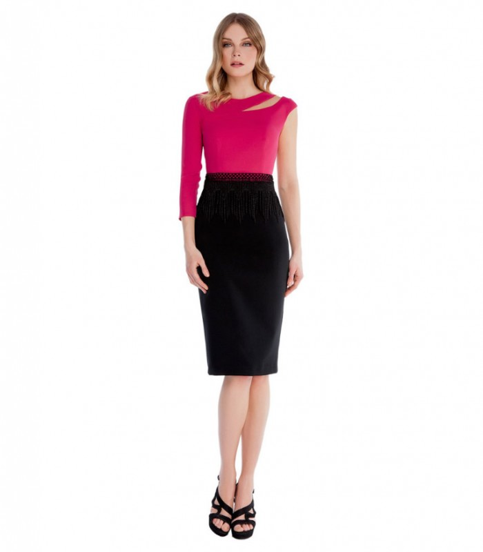 Midi dress with asymmetric sleeves and belt
