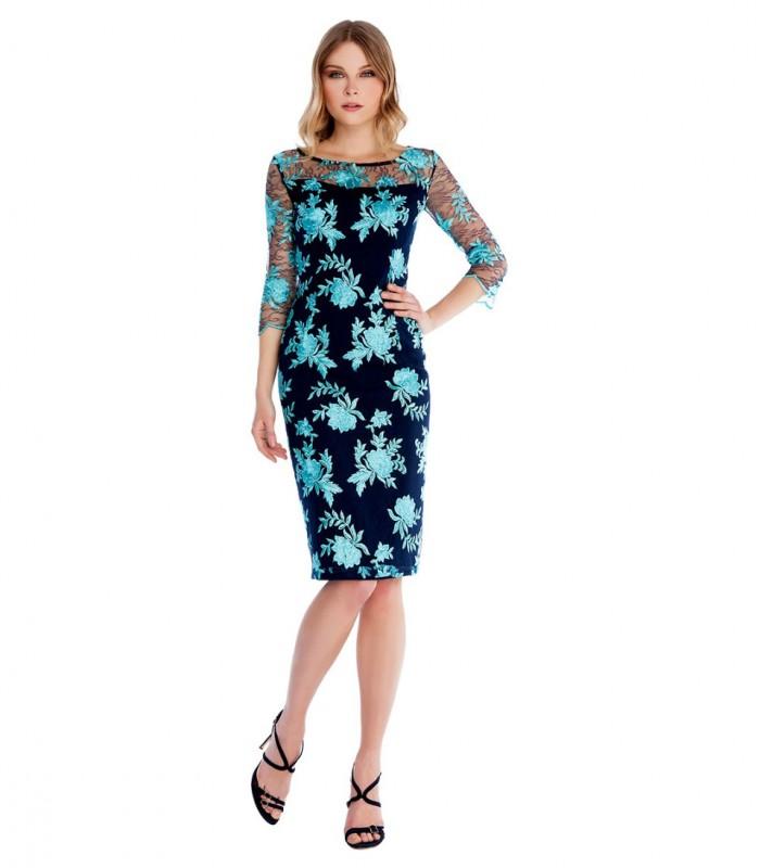 Vestido midi con encaje floral y mangas francesas