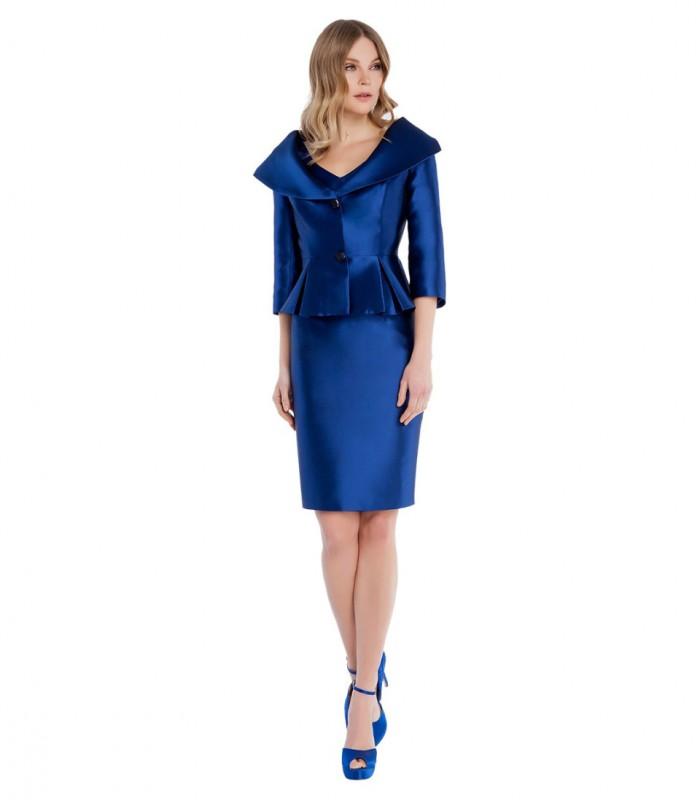 Cap sleeve midi dress with peplum jacket