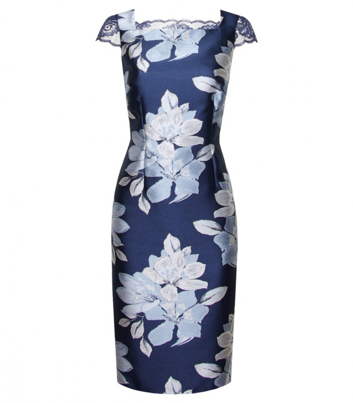 Printed midi dress with square neckline and jacket