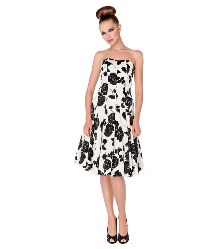 Strapless print midi dress and A-line skirt