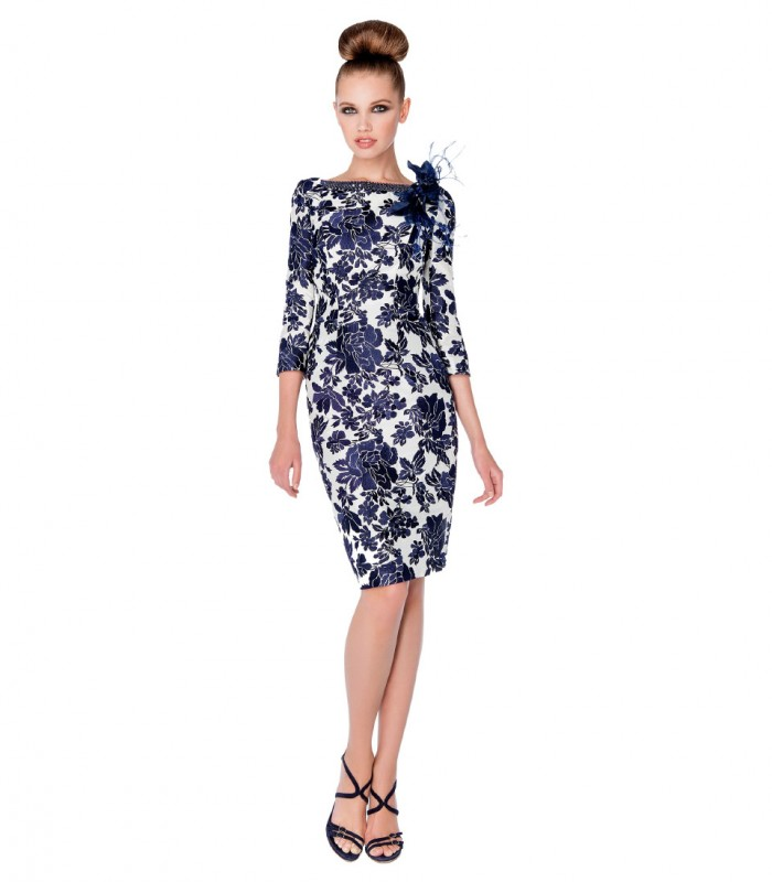 Printed midi dress with boat neck