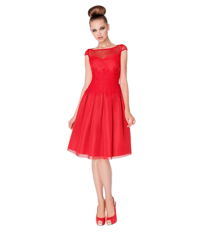 Open Back Floral Lace Fishnet Midi Dress